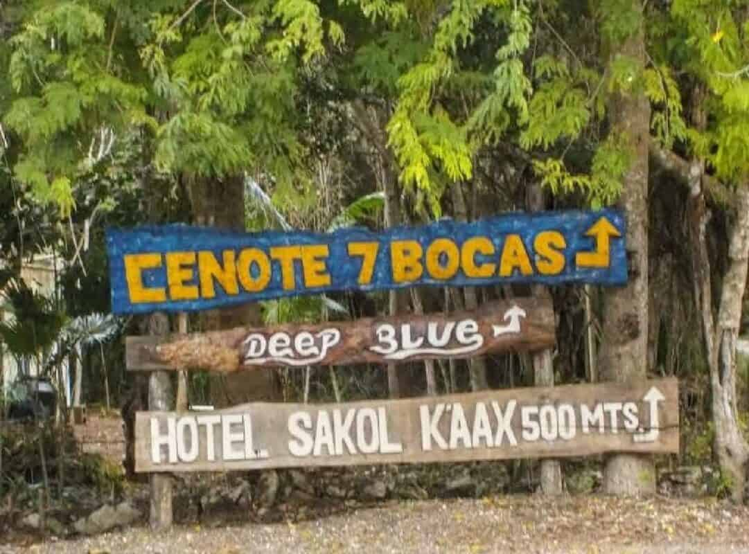 Cenote Siete Bocas - letrero